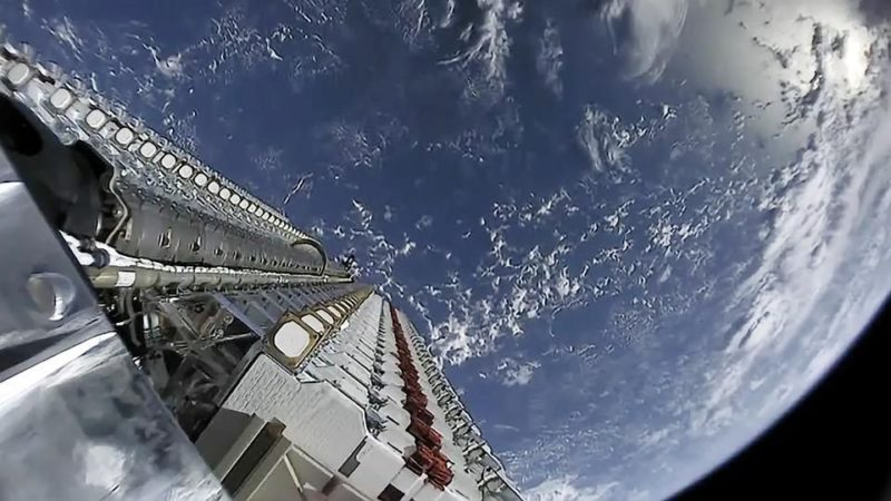 Starlink satellites were launched in a large stack on a Falcon 9 rocket. Photo: SpaceX/Forbes