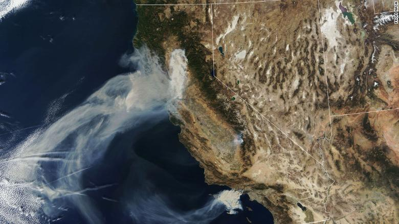 An aerial view of California wildfires. Photo: NASA