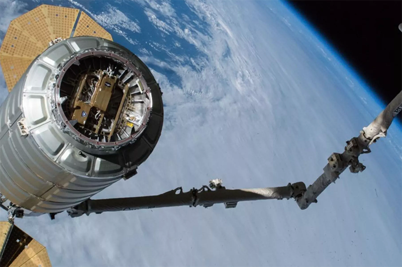 Ubiquitilink's payload attached to a Cygnus cargo capsule in February Image: NASA