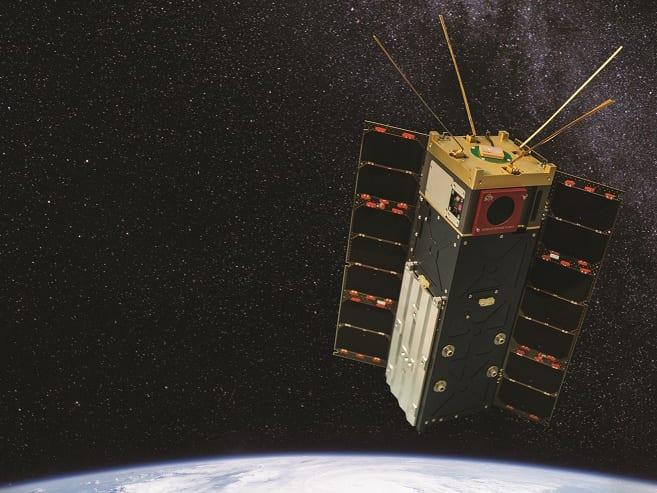 A composite illustration of the HyperAngular Rainbow Polarimeter satellite. Photo: NASA and SDL