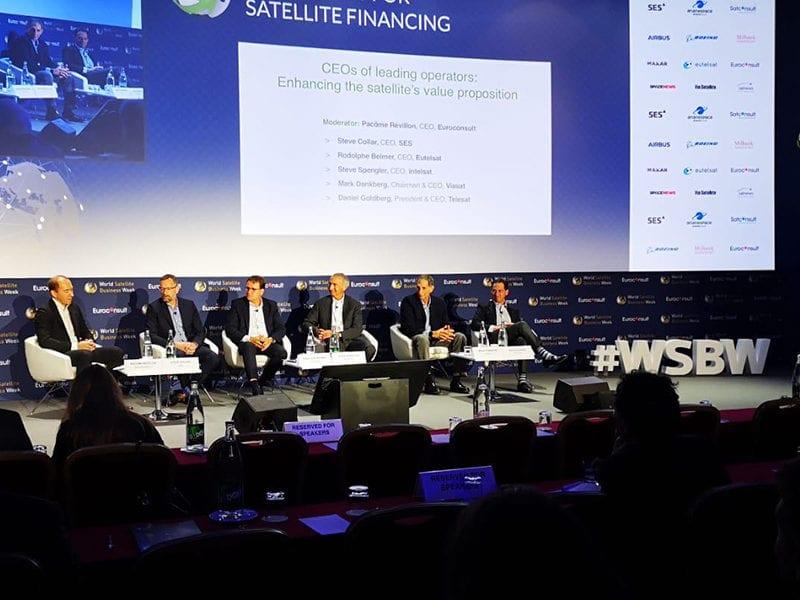 Panel at World Satellite Business Week 2019 featuring SES, Intelsat, Eutelsat, Telesat, and Viasat. Photo: Mark Holmes/Via Satellite